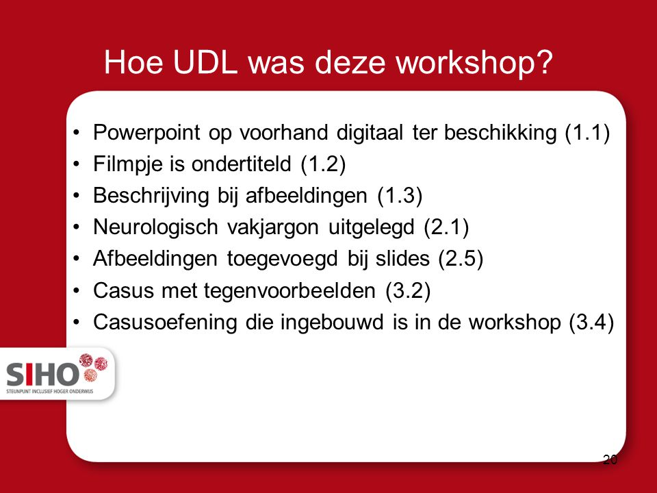 Hoe UDL was deze workshop