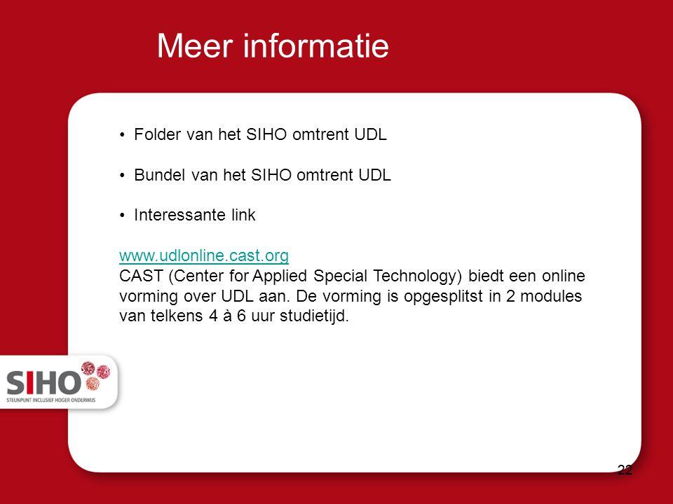 Meer informatie Folder van het SIHO omtrent UDL