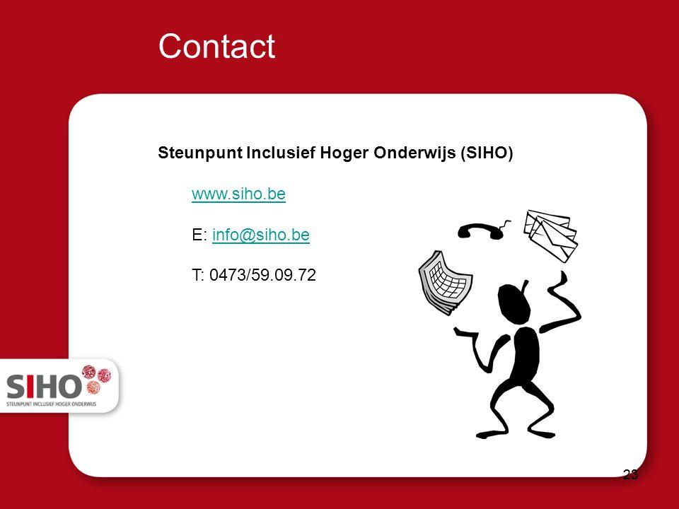 Contact Steunpunt Inclusief Hoger Onderwijs (SIHO) www.siho.be