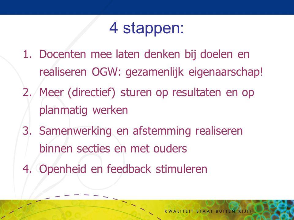 4 stappen: Docenten mee laten denken bij doelen en realiseren OGW: gezamenlijk eigenaarschap!