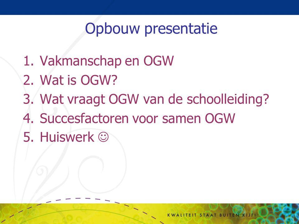 Opbouw presentatie Vakmanschap en OGW Wat is OGW