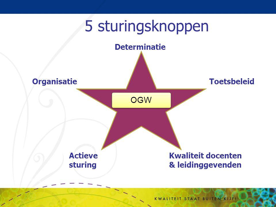 5 sturingsknoppen OGW Determinatie Organisatie Toetsbeleid