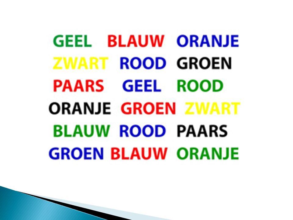 Bij deze oefening moet u de woorden negeren en alleen letten op de kleuren.