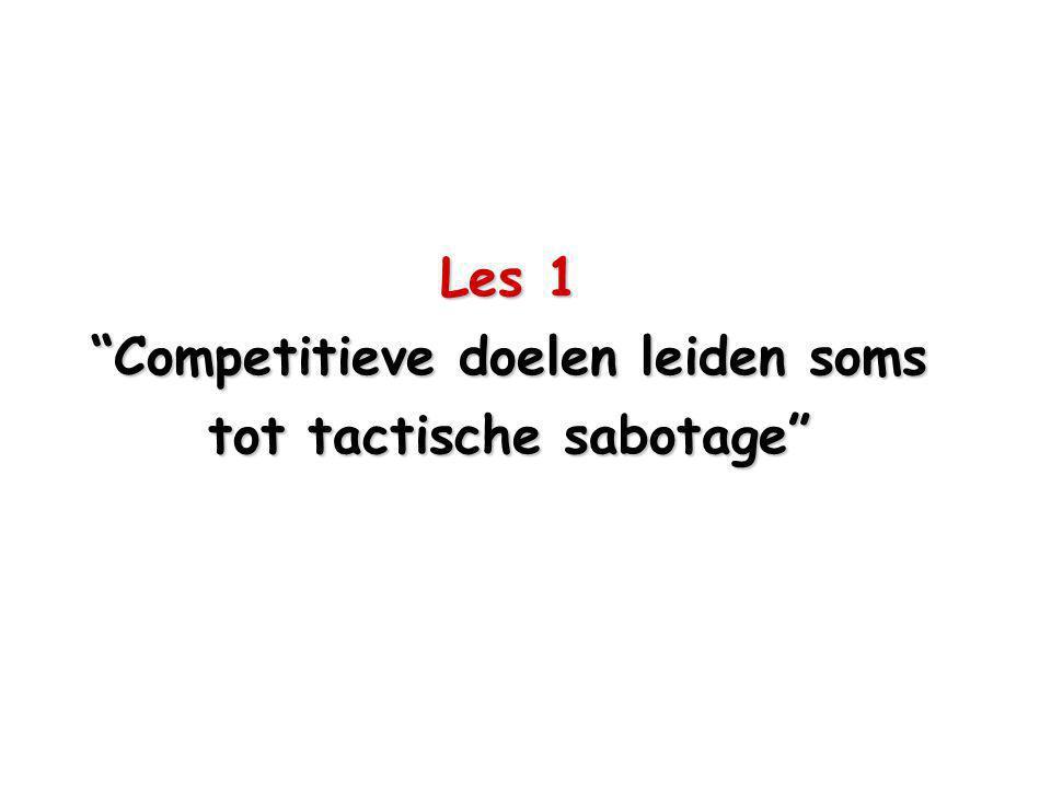 Les 1 Competitieve doelen leiden soms tot tactische sabotage