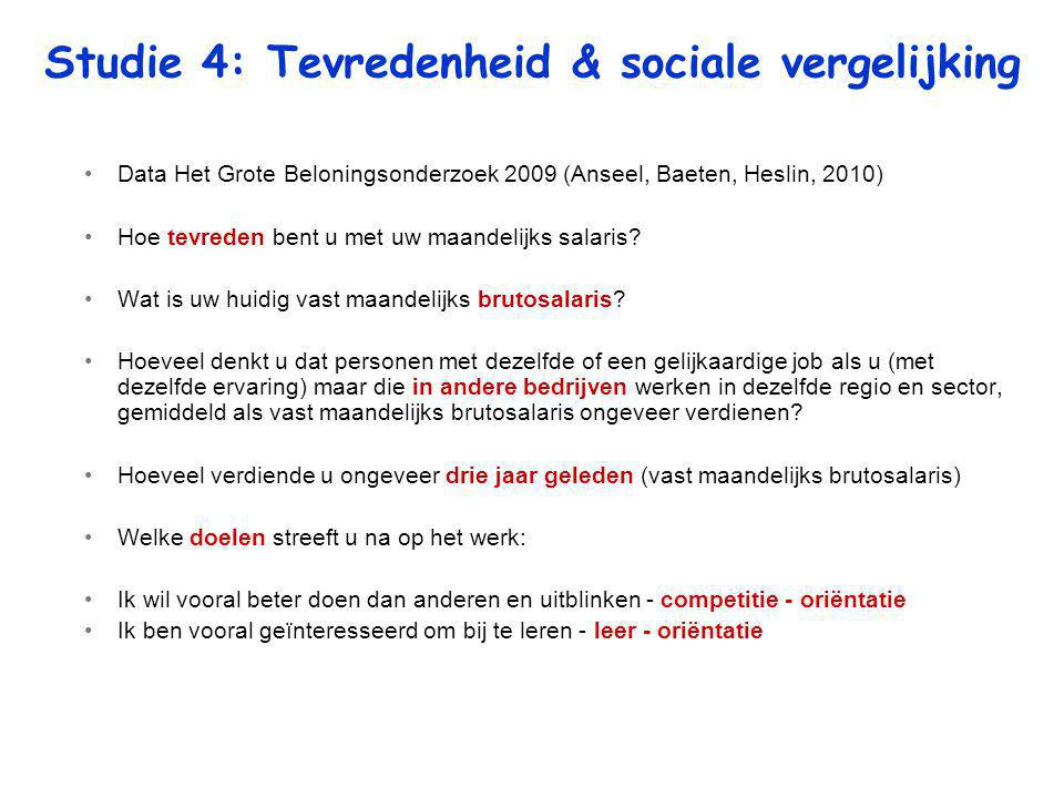 Studie 4: Tevredenheid & sociale vergelijking