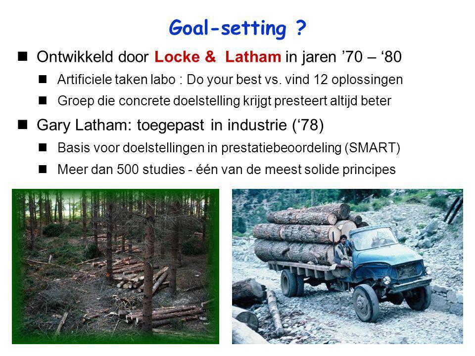 Goal-setting Ontwikkeld door Locke & Latham in jaren '70 – '80