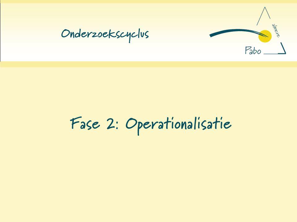 Fase 2: Operationalisatie
