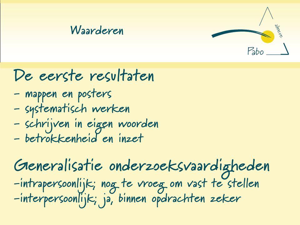 Waarderen De eerste resultaten - mappen en posters - systematisch werken - schrijven in eigen woorden - betrokkenheid en inzet.