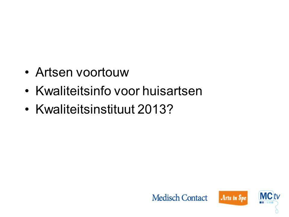 Artsen voortouw Kwaliteitsinfo voor huisartsen Kwaliteitsinstituut 2013