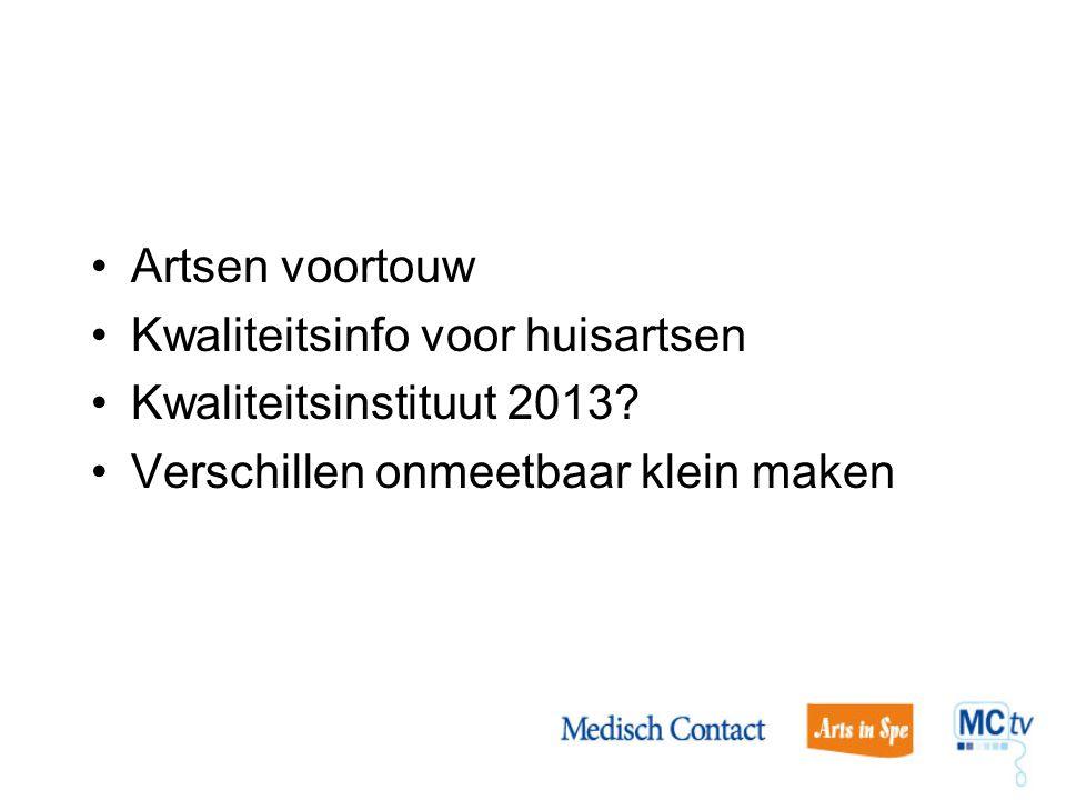 Artsen voortouw Kwaliteitsinfo voor huisartsen. Kwaliteitsinstituut 2013.