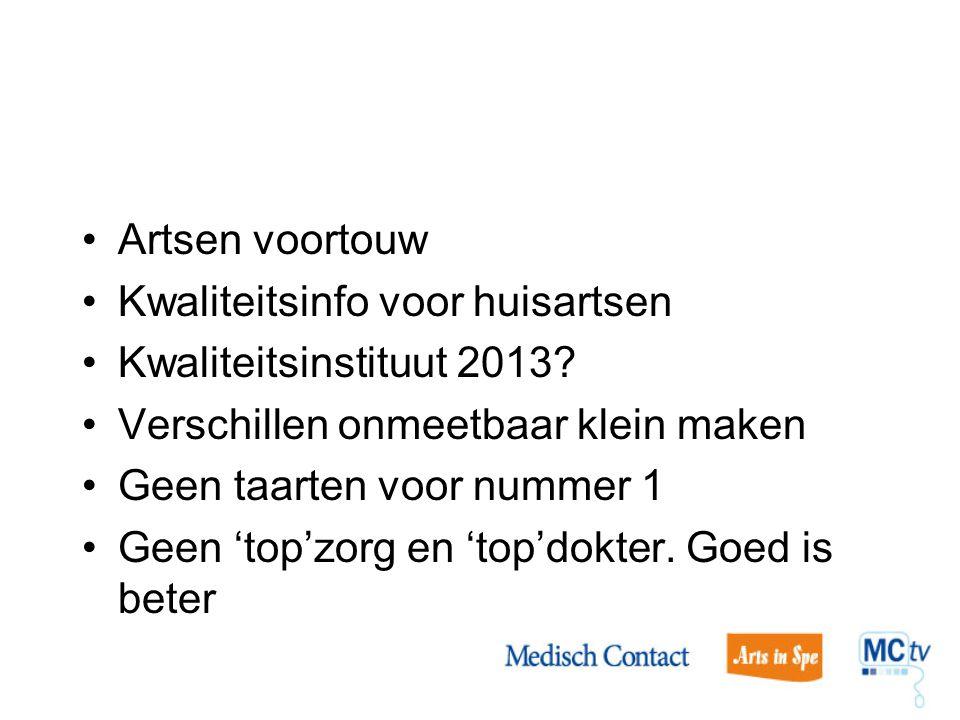 Artsen voortouw Kwaliteitsinfo voor huisartsen. Kwaliteitsinstituut 2013 Verschillen onmeetbaar klein maken.