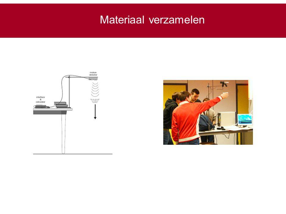 Materiaal verzamelen Metingen gebeuren met bewegingdetector, die verbonden is met grafisch rekentoestel TI 84.