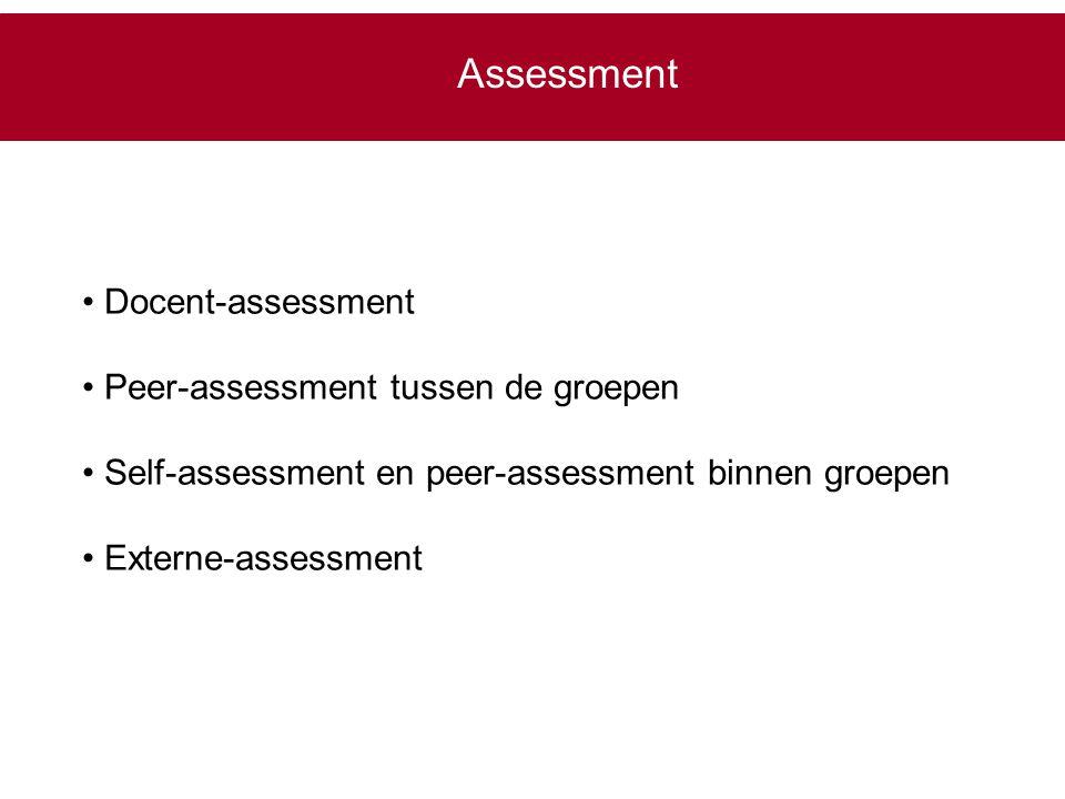 Assessment Docent-assessment Peer-assessment tussen de groepen