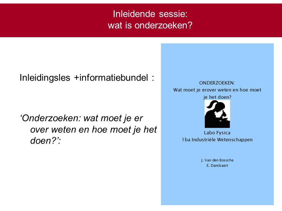 Inleidende sessie: wat is onderzoeken