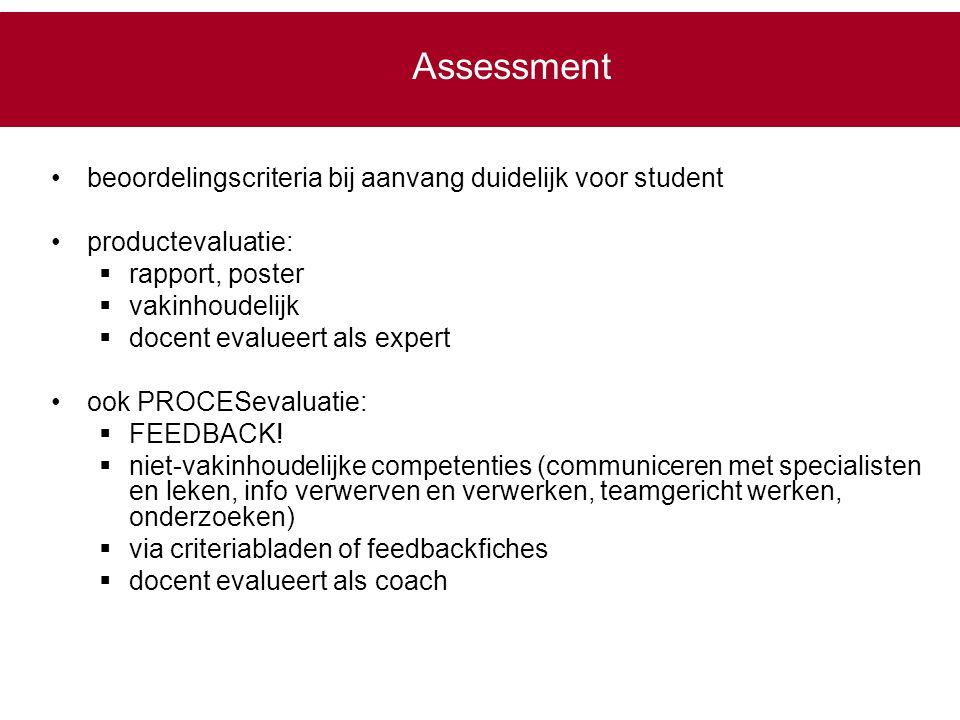 Assessment beoordelingscriteria bij aanvang duidelijk voor student