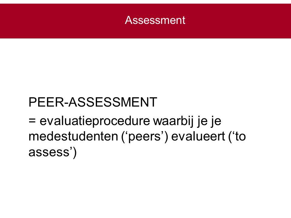 Assessment PEER-ASSESSMENT.