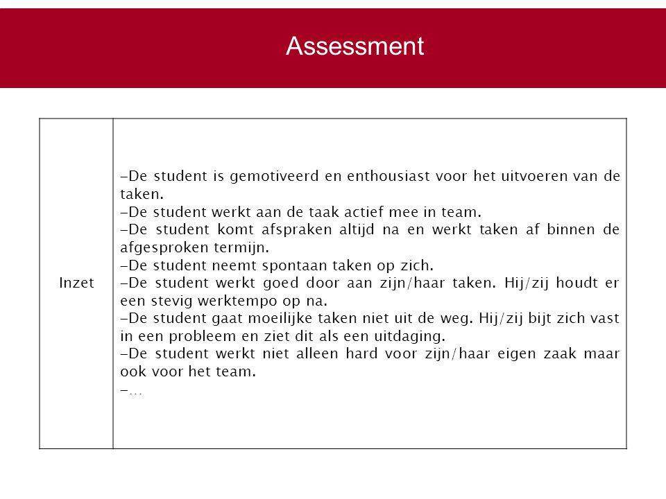 Assessment Inzet. De student is gemotiveerd en enthousiast voor het uitvoeren van de taken. De student werkt aan de taak actief mee in team.