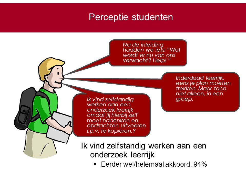 Perceptie studenten Na de inleiding hadden we iets: Wat wordt er nu van ons verwacht Help!