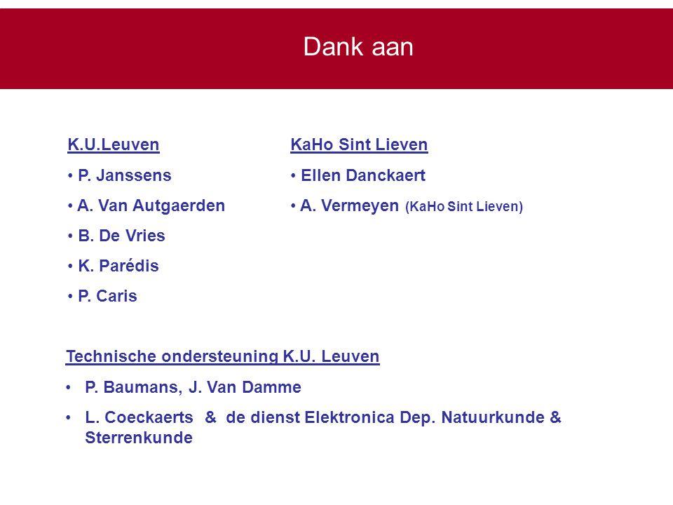 Dank aan K.U.Leuven P. Janssens A. Van Autgaerden B. De Vries