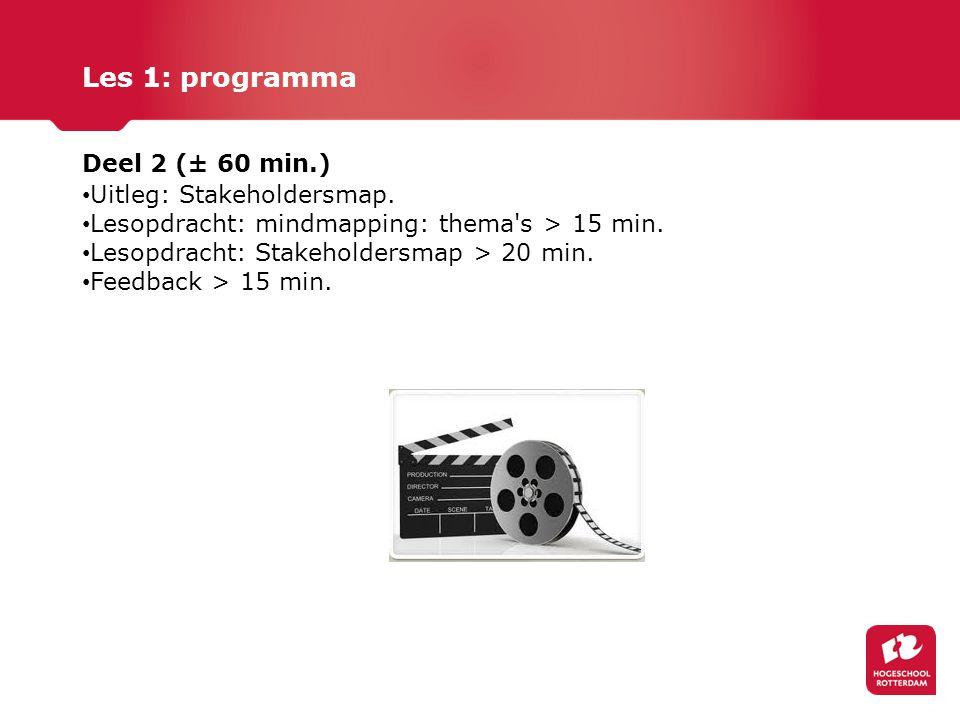 Les 1: programma Deel 2 (± 60 min.) Uitleg: Stakeholdersmap.
