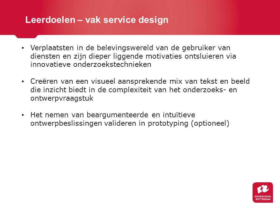 Leerdoelen – vak service design