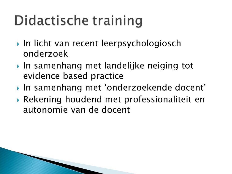 Didactische training In licht van recent leerpsychologiosch onderzoek