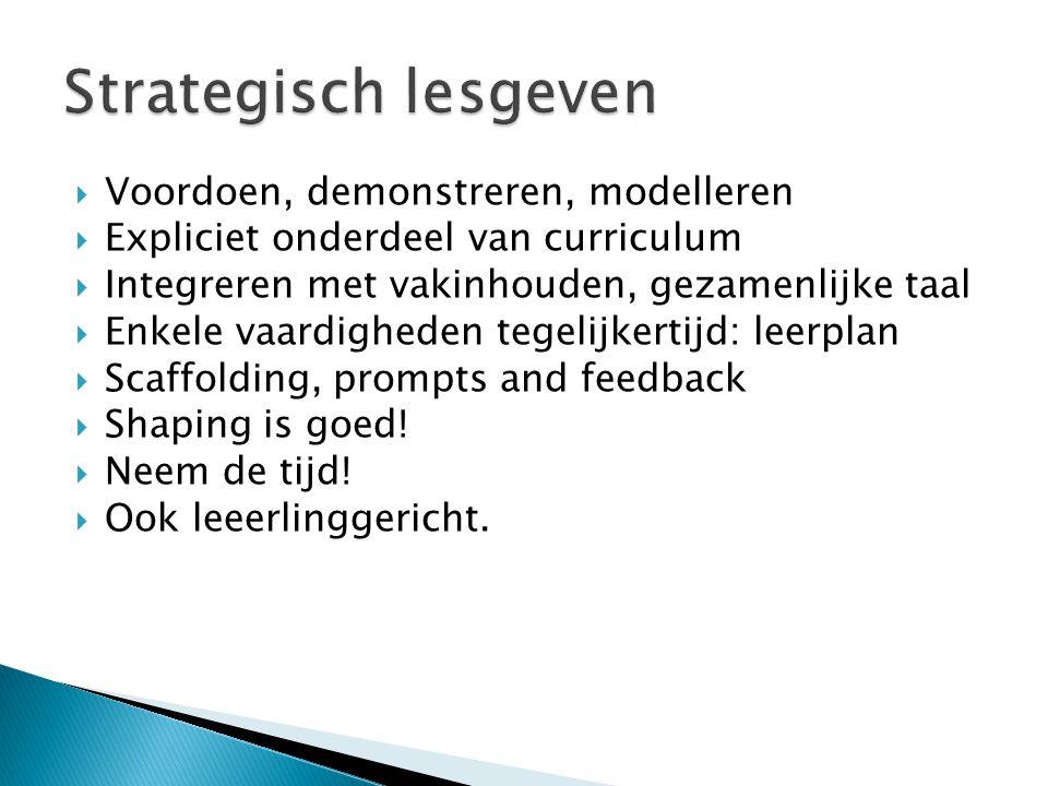 Strategisch lesgeven Voordoen, demonstreren, modelleren