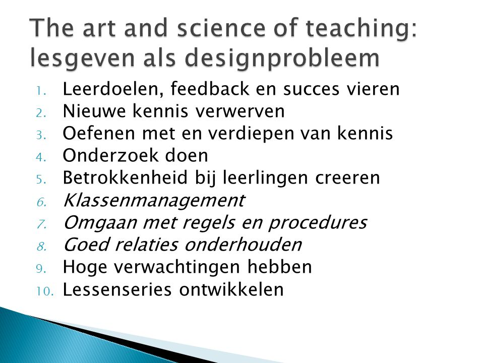 The art and science of teaching: lesgeven als designprobleem