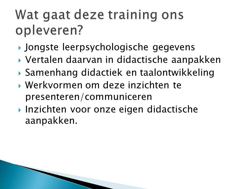 Wat gaat deze training ons opleveren
