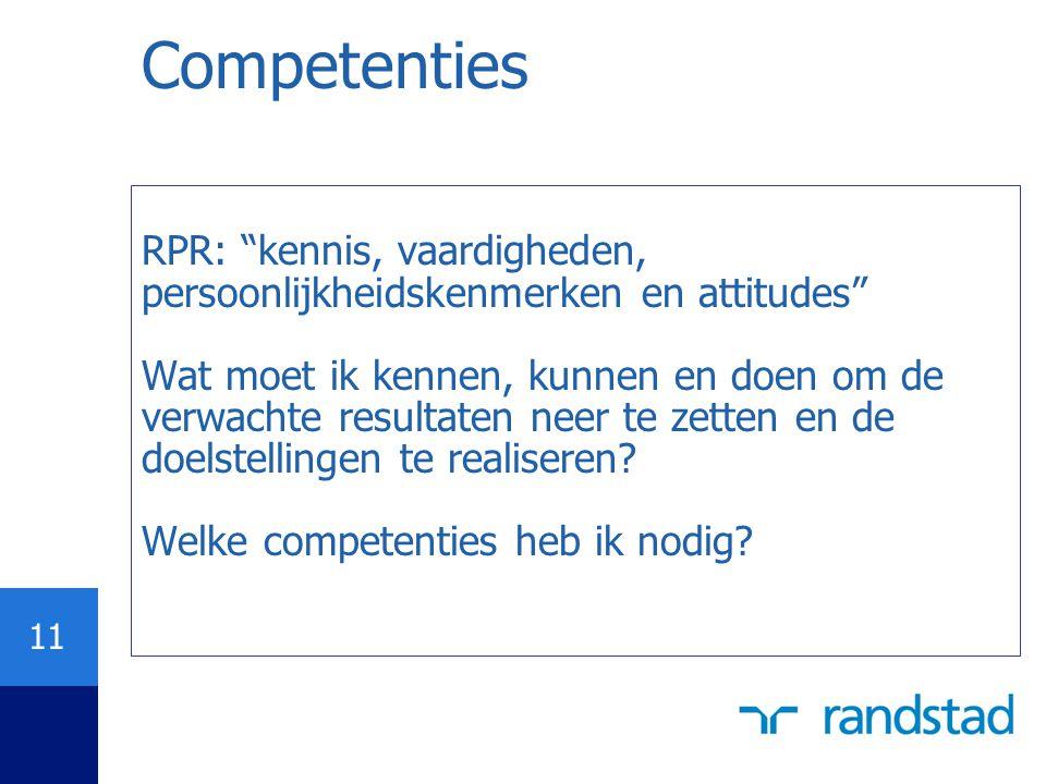 Competenties RPR: kennis, vaardigheden, persoonlijkheidskenmerken en attitudes
