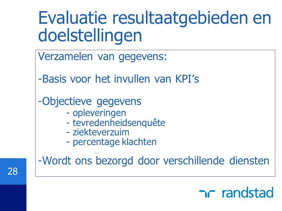 Evaluatie resultaatgebieden en doelstellingen