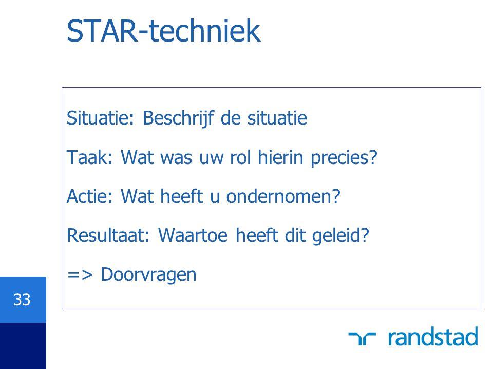 STAR-techniek Situatie: Beschrijf de situatie