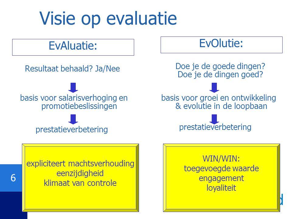 Visie op evaluatie EvOlutie: EvAluatie: Doe je de goede dingen