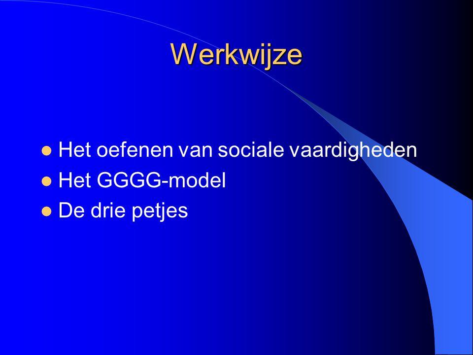 Werkwijze Het oefenen van sociale vaardigheden Het GGGG-model