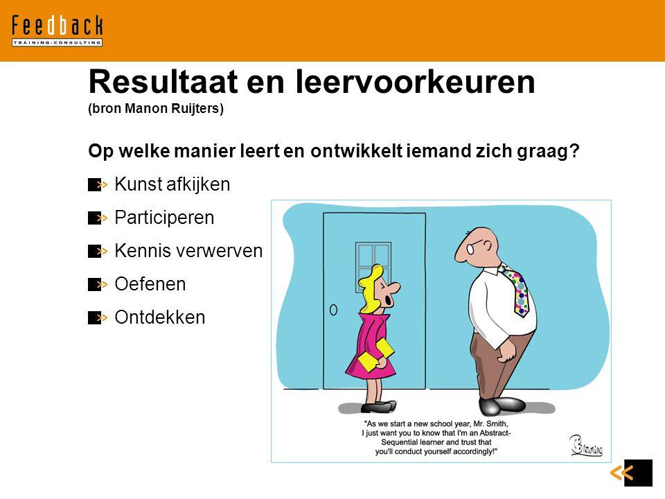 Resultaat en leervoorkeuren (bron Manon Ruijters)