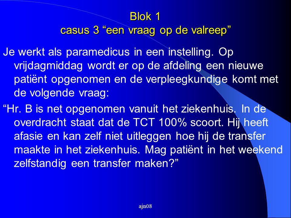 Blok 1 casus 3 een vraag op de valreep