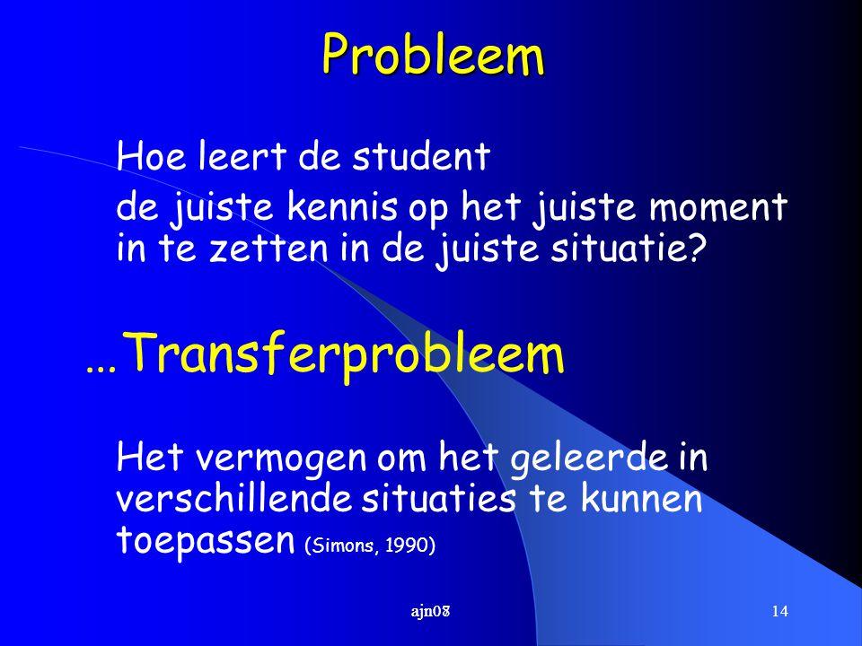 Probleem …Transferprobleem Hoe leert de student