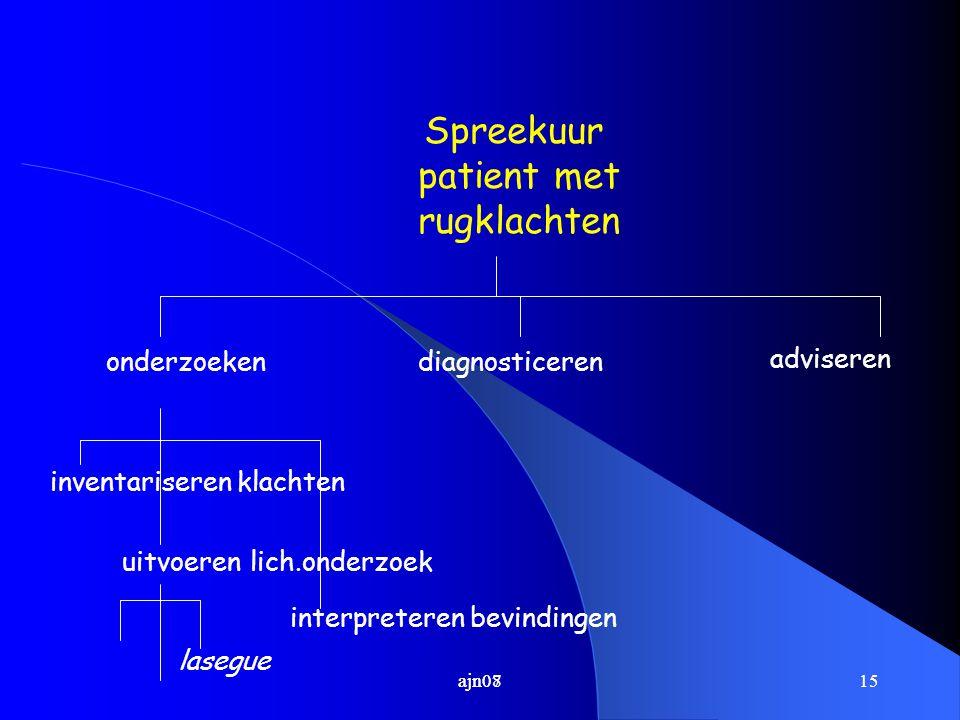 Spreekuur patient met rugklachten onderzoeken diagnosticeren adviseren