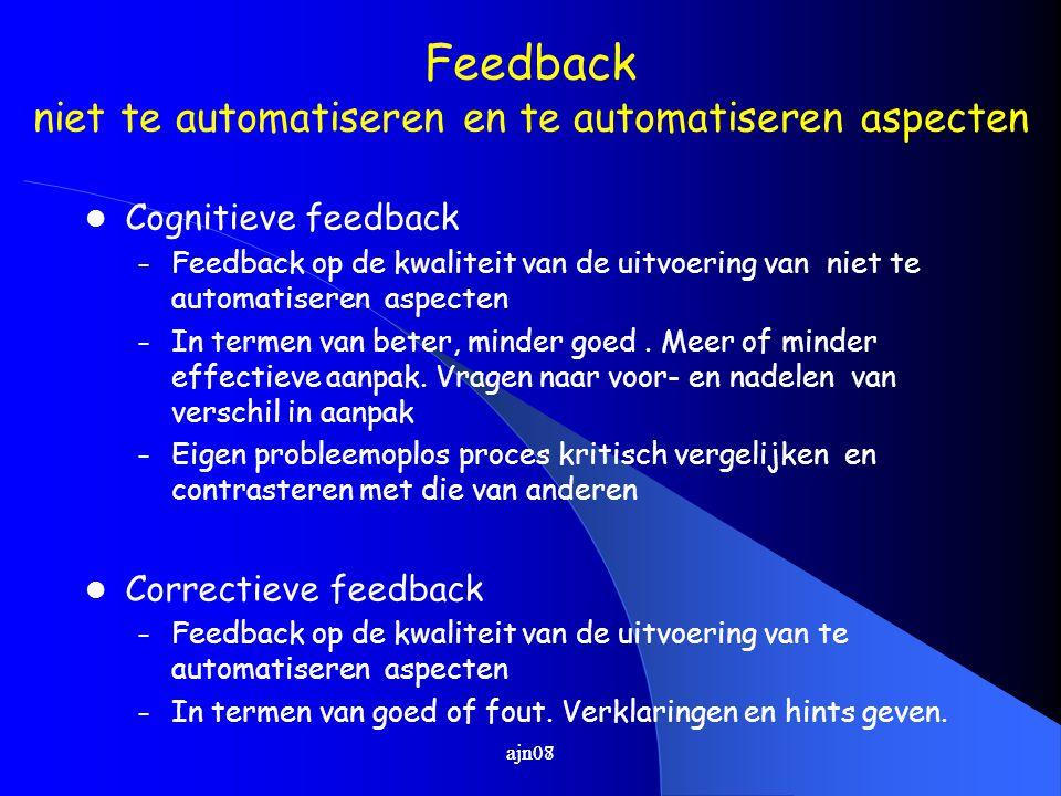 Feedback niet te automatiseren en te automatiseren aspecten