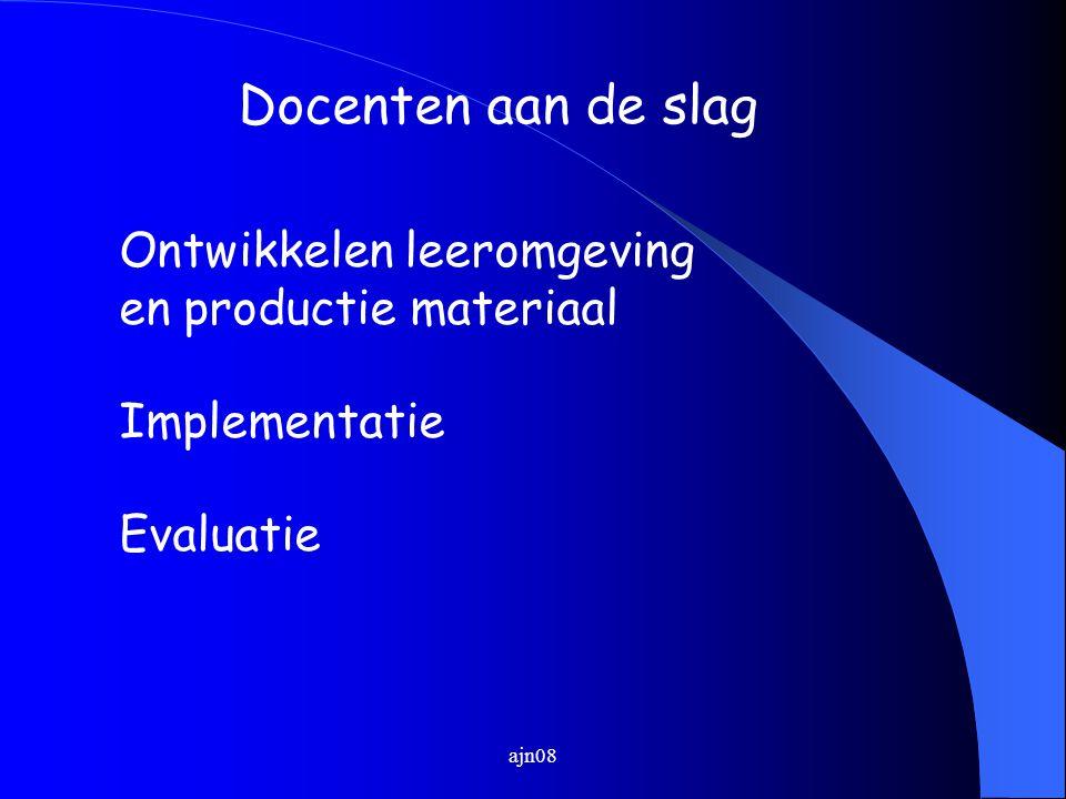 Docenten aan de slag Ontwikkelen leeromgeving en productie materiaal