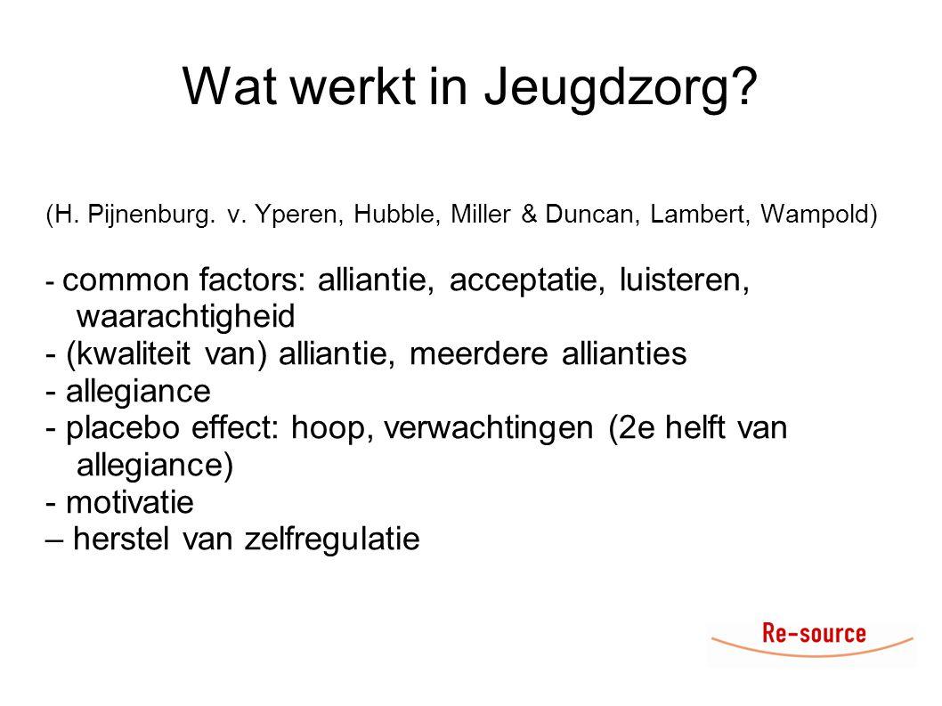 Wat werkt in Jeugdzorg (H. Pijnenburg. v. Yperen, Hubble, Miller & Duncan, Lambert, Wampold)