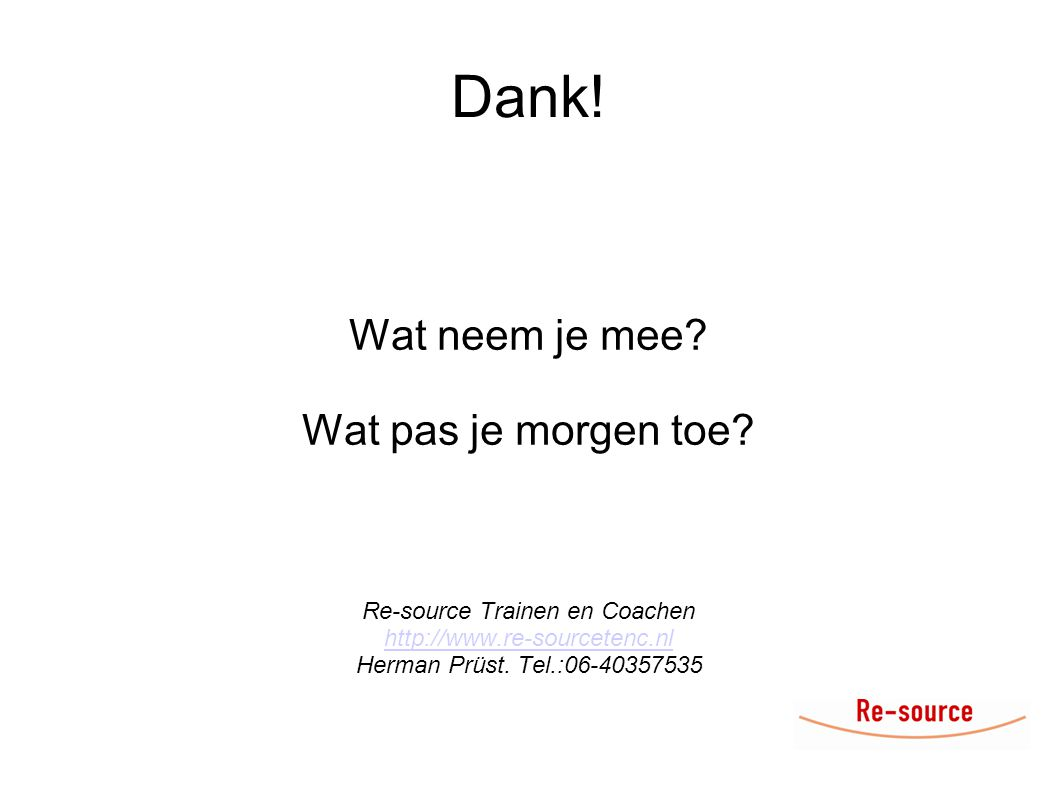 Re-source Trainen en Coachen