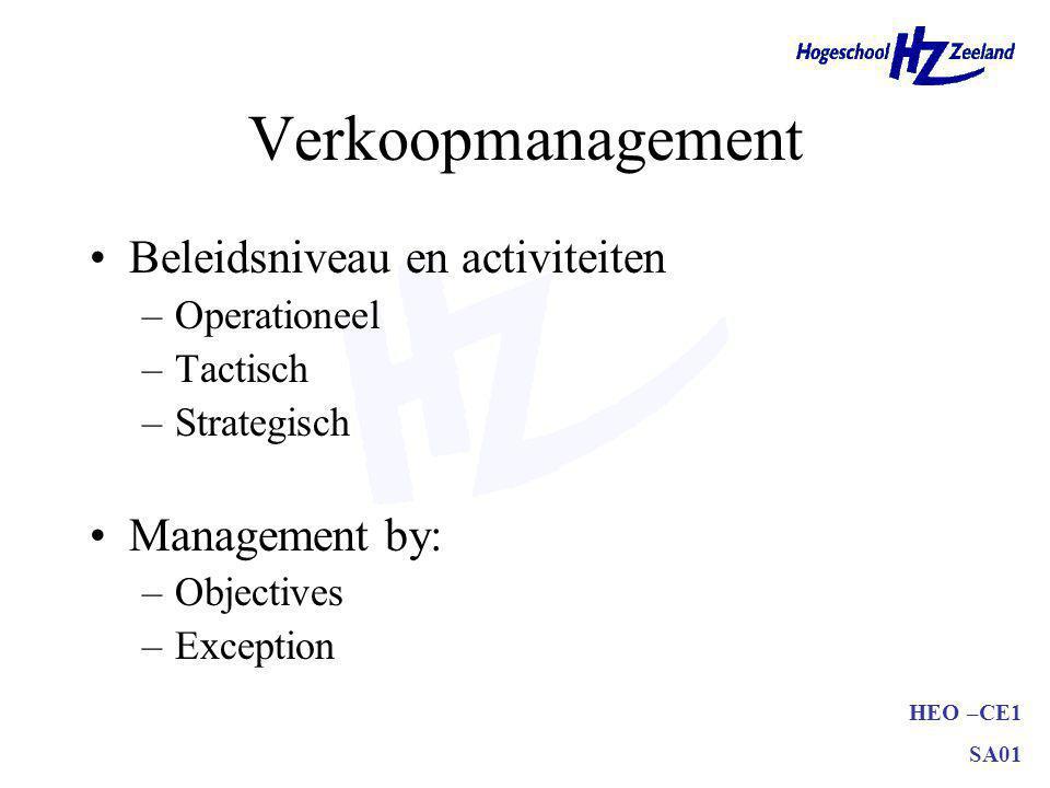 Verkoopmanagement Beleidsniveau en activiteiten Management by:
