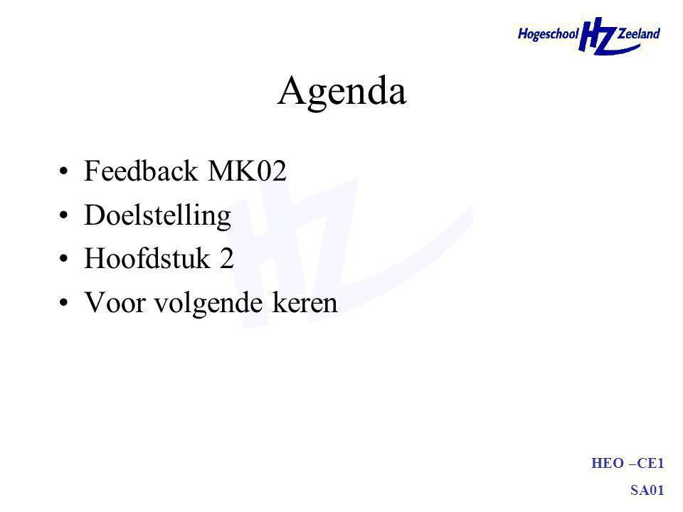 Agenda Feedback MK02 Doelstelling Hoofdstuk 2 Voor volgende keren