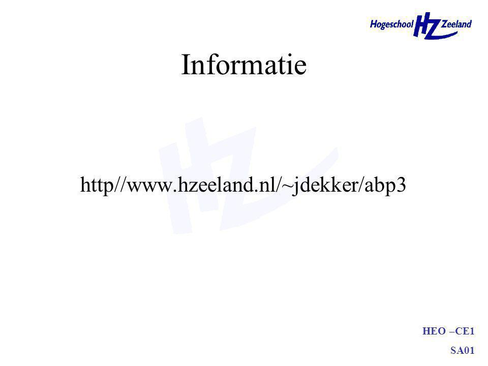 Informatie http//www.hzeeland.nl/~jdekker/abp3