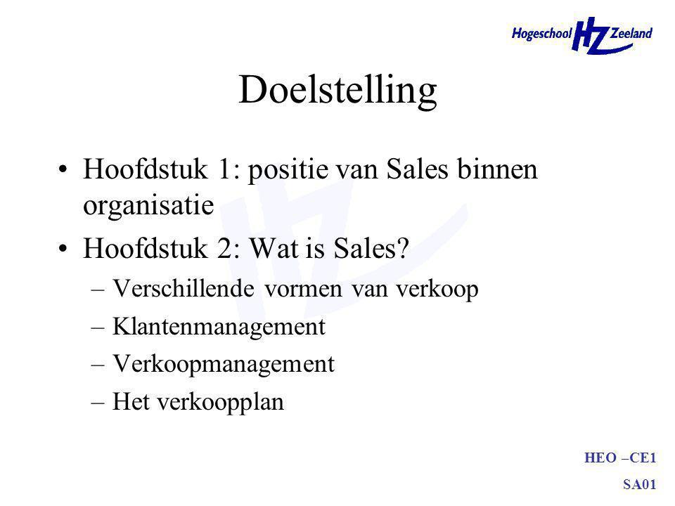 Doelstelling Hoofdstuk 1: positie van Sales binnen organisatie