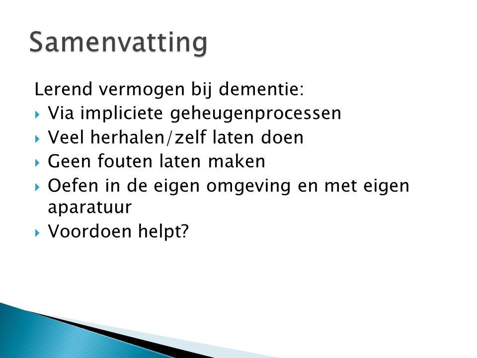 Samenvatting Lerend vermogen bij dementie: