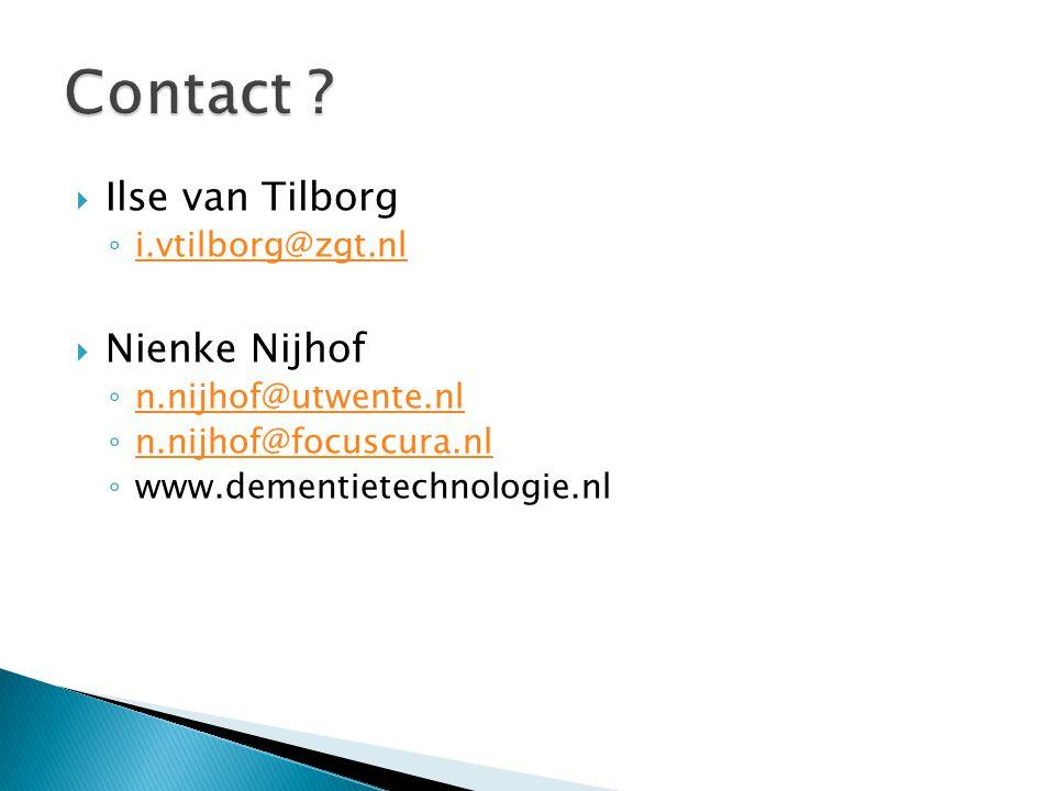 Contact Ilse van Tilborg Nienke Nijhof i.vtilborg@zgt.nl