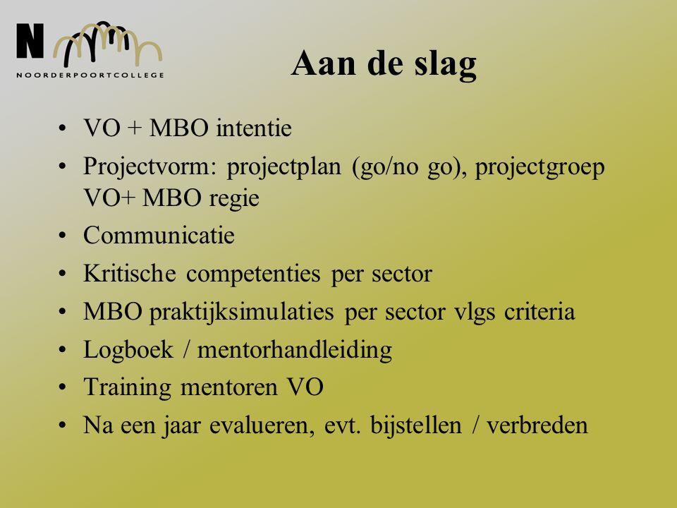 Aan de slag VO + MBO intentie