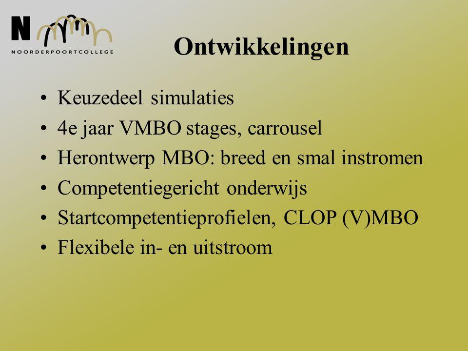 Ontwikkelingen Keuzedeel simulaties 4e jaar VMBO stages, carrousel